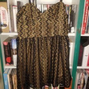 Black and Gold Boutique Spaghetti Strap Mini Dress